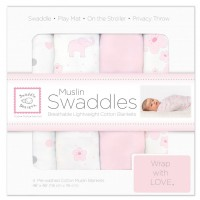 مجموعة مهود مواليد Muslin Swaddle Blankets Premium Muslin Set of 4