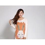 بلوزه طويله لون بيج Dream Girl - Maternity Rabbit Long Sweater - Beige