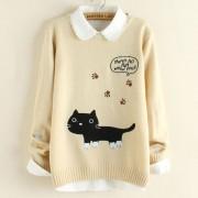 بلوزة بيج تطريز القطة Cat Knit Pullover - Beige