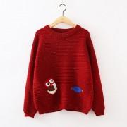 سويتر احمر مطرز بومة ninna nanna - Owl Embroidered Sweater - Wine Red
